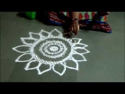 Easy Rangoli by Kshama How to draw free hand rangoli Small Rangoli Designs Rangoli at the door