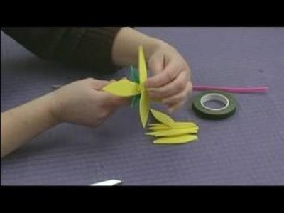 Foam Flower Crafts for Kids : Cutting Flower Petals for Daisy Crafts
