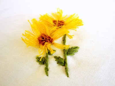 Hand Embroidery : 3D Sun flower