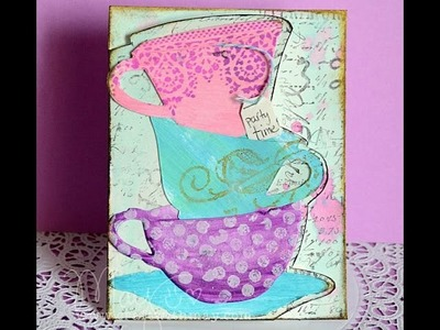 Invitation made with Tim Holtz teacup dies (inspired by Ever After High)