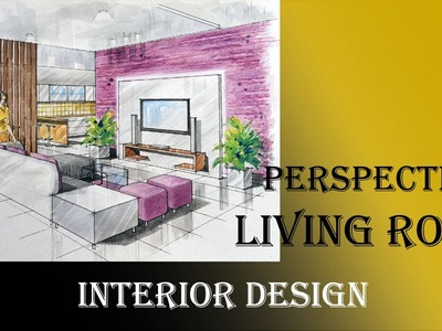 Manual Rendering | 2-point Interior Design Perspective Drawing & Rendering | Tutorial | Watercolour