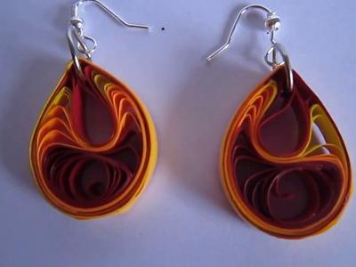 Handmade Jewelry - Paper Quilling Teardrops Earrings (Jaali - Maroon,Orange-Yellow)