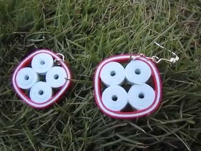 Handmade Jewelry - Paper Quilling Four Circle Square Earrings