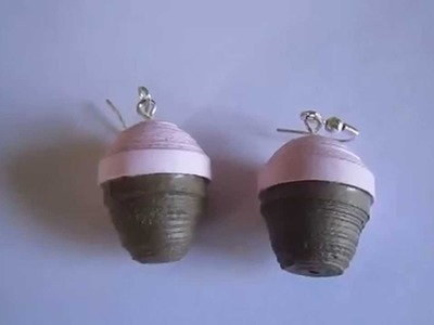 Handmade Jewelry - Paper Quilling Cup Cake Earrings