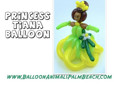 How To Make A Princess Tiana Balloon (Green Dress) - Balloon Animals Palm Beach