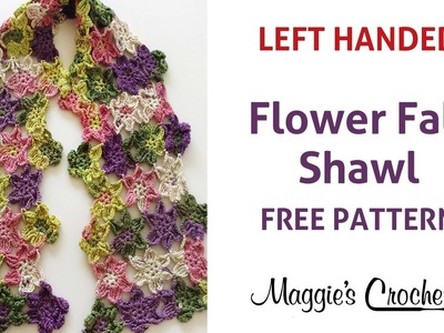 Flower Fall Shawl Free Crochet Pattern - Left Handed