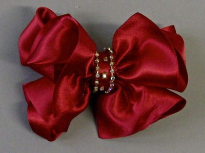 Laço de fitas com strass Passo a Passo - loop tapes - satin ribbon bow