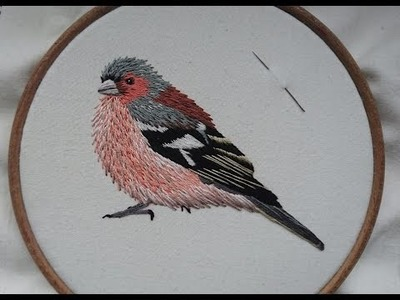 3. Hand Embroidery. Stitching a Chaffinch. Craft Jitsu
