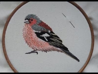 3. Hand Embroidery. Stitching a Chaffinch. Craft Jitsu