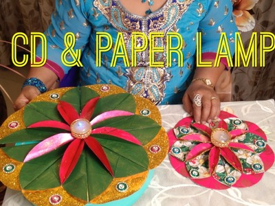 How to Make CD & Paper Rangoli Lamp | Diwali Special