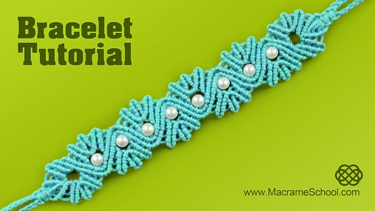 Yarn Shell Bracelet with Pearls | Tutorial by Macrame School