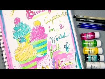 Beautiful cupcake art journal page with india Ink