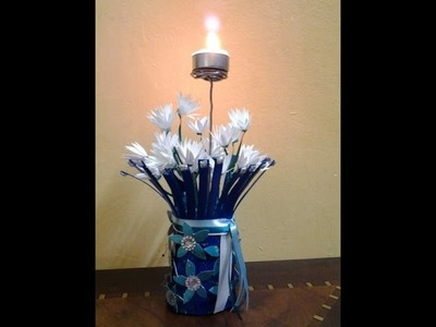 Best Out Of Waste Flower Vase With White Flowers and Candle Holder