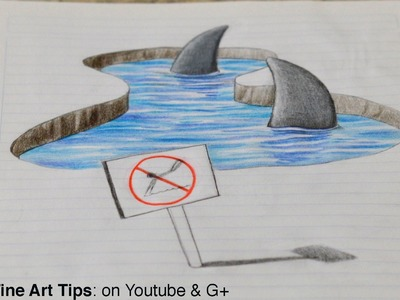 Drawing 3D Sharks on my Notebook! - 3D Anamorphic Drawing (Time Lapse)
