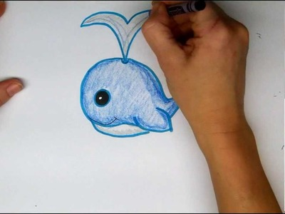 Drawing: How To Draw a Cute Cartoon Whale - Easy - Step by Step Tutorial.
