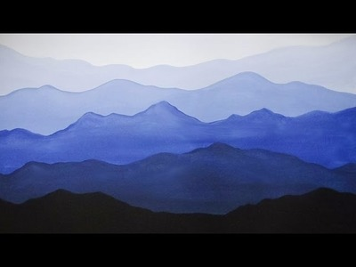 Easy Acrylic Painting - Misty Mountains