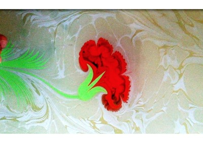 Ebru Sanati - Karanfil - Abdulkerim Caliskan, painting on water, marbling art