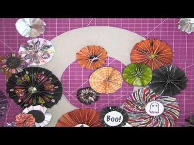 Fan-fold flower. rosette Halloween wreath