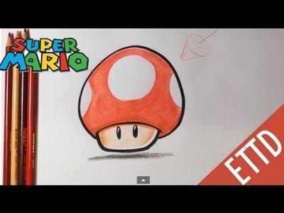 How to Draw Super Mario Bros. Mushroom - Easy Things To Draw