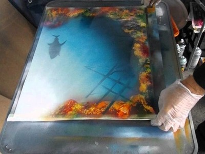 Spray Paint Art creating a coral reef, shipwreck and shark using just aerosol cans and newspaper