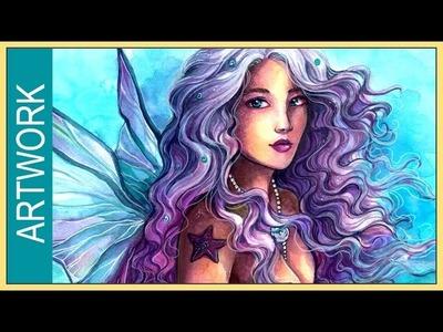 Watercolors Illustration ✬ Leucosia ✬ Angel Mermaid ✬ YTAC#2 by Sakuems