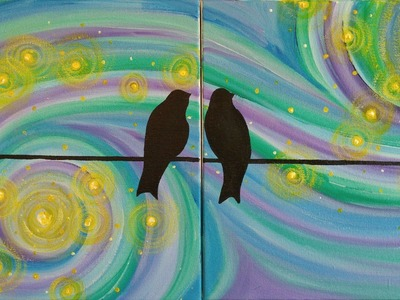 A Starry Night for Lovebirds Step by Step Acrylic Painting on Canvas for Beginners