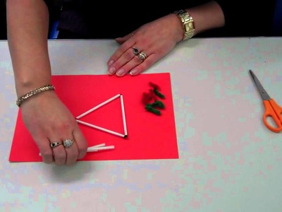 How to make 4 equilateral triangles using 6 art straws