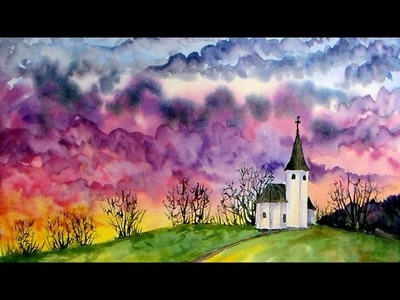 Live Watercolor: Chapel Sunset (Lots of color! sky & clouds!)