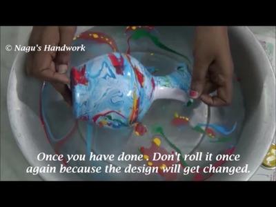 Pot Painting-Pot Painting using Enamel colors by Nagu's Handwork