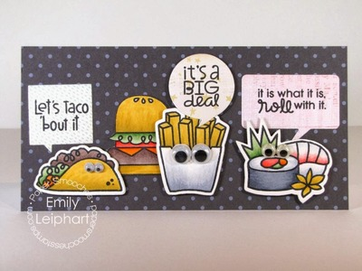 Start-to-Finish card with Paper Smooches' Calorie Free stamps and dies