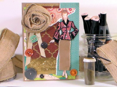 Vintage Fashion Card With Fabric, Ribbon & Embossing Powder!