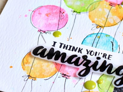 Watercolor Stamping with Hand Doodling