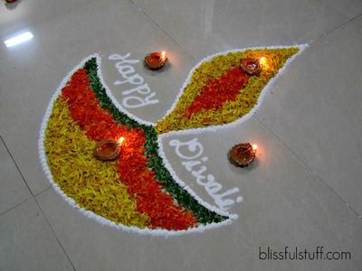 Diwali Special - Diya Rangoli Design with marigold flowers, How to make rangoli with flowers-V