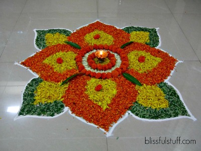 Diwali Special - Rangoli Design with marigold flowers, How to make rangoli with flowers - III