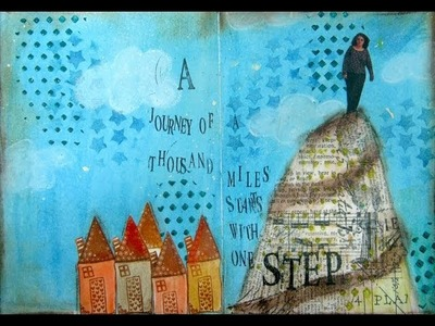 Mixed Media Art Journal Page - Journey