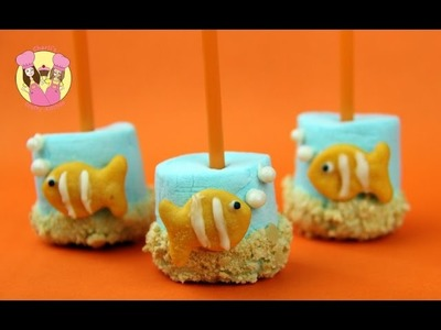 NEMO MARSHMALLOW POPS - clownfish Finding Nemo aquarium mallow pops - Disney pixar how to baking