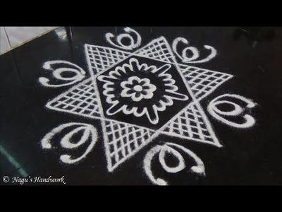 Star Rangoli Design-Rangoli Design For Beginners By Nagu's Handwork