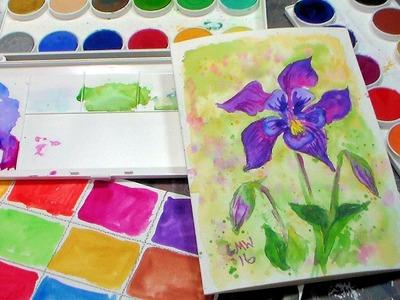 Columbine Flower Tutorial & Grumbacher Deluxe Opaque Watercolor Review