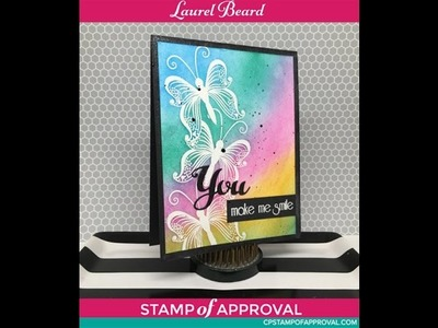 Rainbow Background Butterflies using Clarity Stencil Brushes - Stamp of Approval