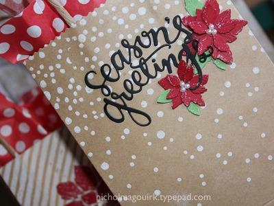 Simon Says Stamp Holiday Card Kit   Poinsettia Kraft Bags