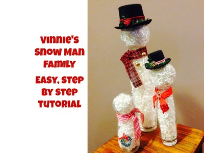 Vinnie's Snowman Family   making snow men with glass jars