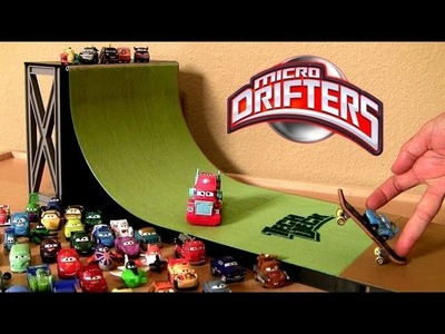 Cars 2 Stunt Ramp Micro Drifters Drifting on Skateboards Tech Deck Disney Planes Pixar Car stunts