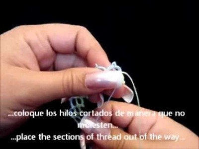 Frivolite-Tatting Lesson 60 - Añadir hilo-adding threads
