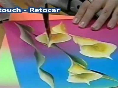 How to Paint Calla lily - Copos-de-leite - Cómo pintar lirio de calla.