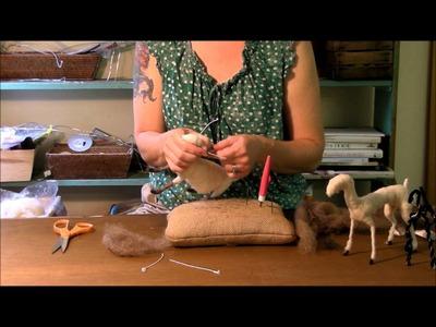 Needle Felting Tutorial - Sarafina Fiber Art Goat Series 5: Horns and Head