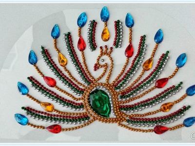 Peacock Kundan Rangoli