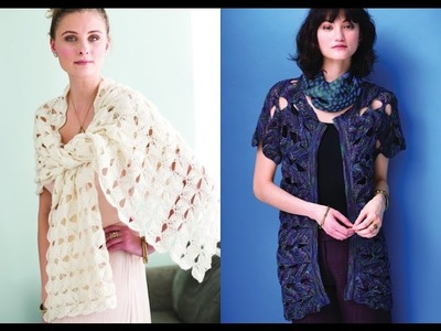Tutorial for Leaf Morif Wrap, Vogue Knitting Spring.Summer 2016 #3 & #5 Open Front Cardigan