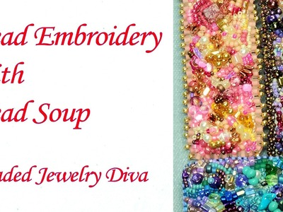 Bead Embroidery:  Barrette Made WIth Bead Soup - Bead Embroidery Tutorial