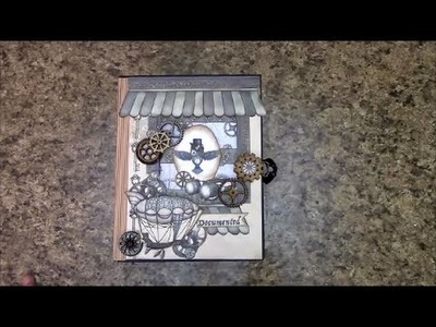 PART 1 TUTORIAL DBS STEAMPUNK DAZE 8-1.2 x 6-1.2 MINI ALBUM DESIGNS BY SHELLIE