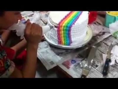 Rainbow cake simple decoration